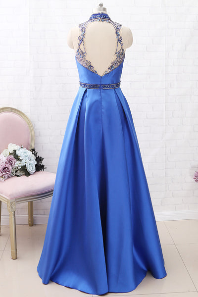 MACloth High Neck with Beaded Satin Maxi Prom Dress Royal Blue Formal Evening Gown with Pocket