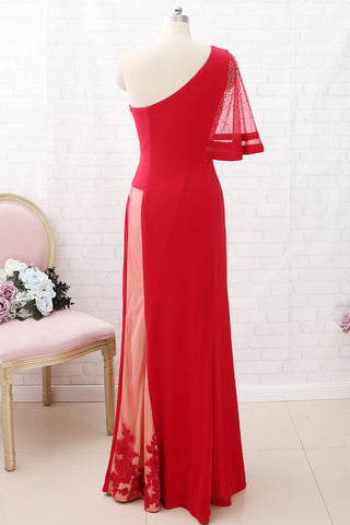 MACloth One Shoulder Sheath Long Jersey Prom Dress Red Formal Evening Gown