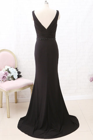 MACloth Straps V Neck Mermaid Black Maxi Prom Dress Jersey Formal Evening Gown