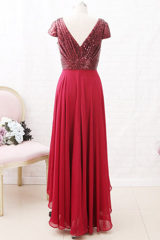 MACloth Cap Sleeves V Neck Sequin Chiffon High Low Mother of the Brides Dress Burgundy Formal Gown