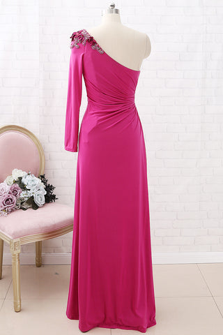 MACloth One Shoulder Long Sleeves Jersey Maxi Prom Dress Fuchsia Formal Evening Gown