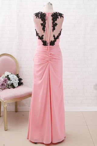 MACloth Straps V Neck with Lace Chiffon Maxi Prom Dress Blush Formal Evening Gown