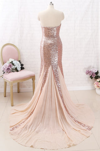 MACloth Mermaid Strapless Sequin Maxi Prom Dress Rose Gold Formal Evening Gown