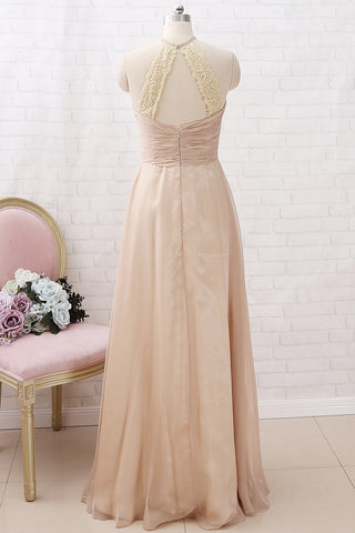 MACloth Halter Chiffon Long Bridesmaid Dress Champagne Wedding Party Dress