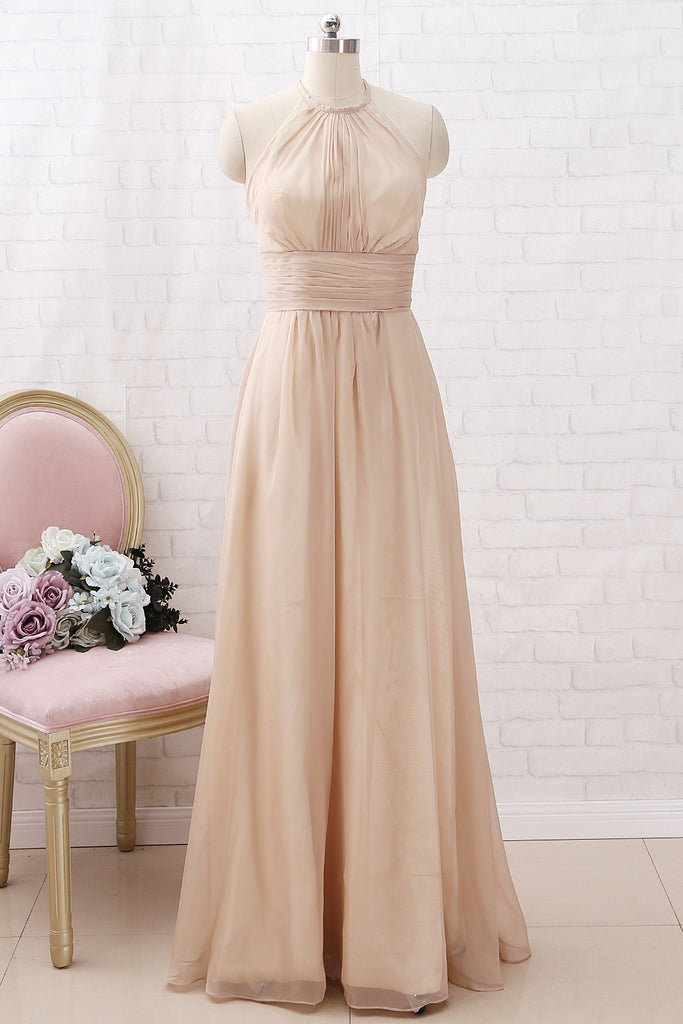 e8a7875901d2 MACloth Halter Chiffon Long Bridesmaid Dress Champagne Wedding Party D