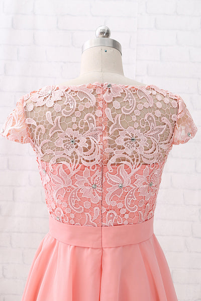 MACloth Cap Sleeves O Neck Lace Chiffon Mini Prom Homecoming Dress Peach Cocktail Dress