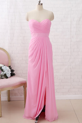 MACloth Strapless Sweetheart Chiffon Maxi Bridesmaid Dress Formal Evening Gown