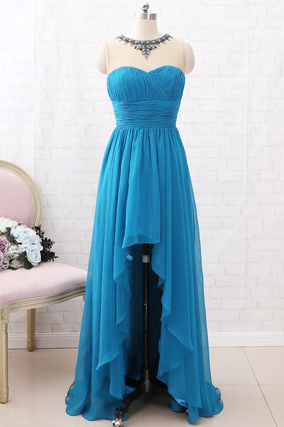 MACloth Straps Illusion with Beaded High Low Prom Dress Teal Formal Evening Gown