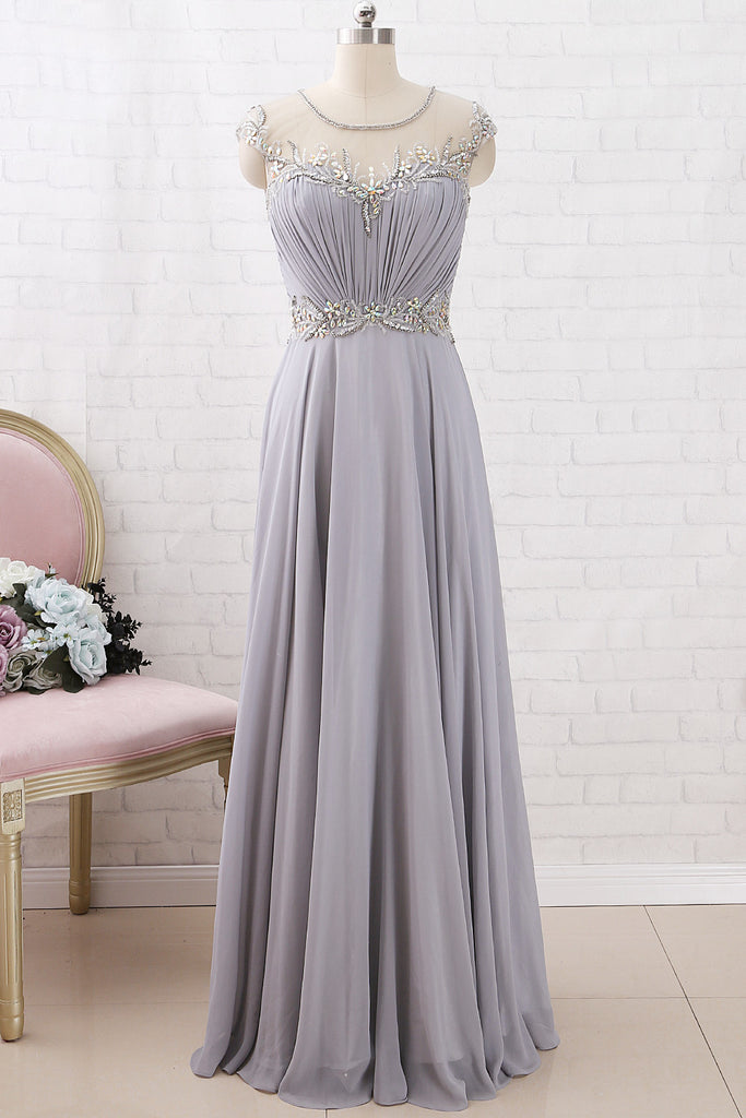 MACloth Cap Sleeves with Beaded Chiffon Maxi Prom Dress Silver Formal Evening Gown
