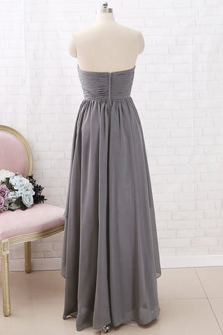 MACloth Strapless Sweetheart High Low Bridesmaid Dress Chiffon Grey Formal Gown