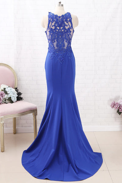 MACloth Mermaid O Neck Jersey Maxi Prom Dress Royal Blue Formal Evening Gown