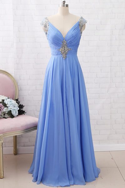 MACloth Cap Sleeves with Beaded Chiffon Long Prom Dress Sky Blue Formal Evening Gown