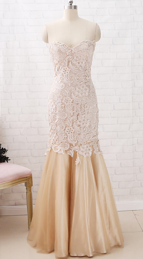 MACloth Mermaid Strapless Sweetheart Long Lace Prom Dress Champagne Formal Evening Gown