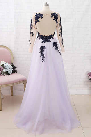 MACloth Long Sleeves Lace Tulle Dark Navy Maxi Prom Dress Formal Evening Gown