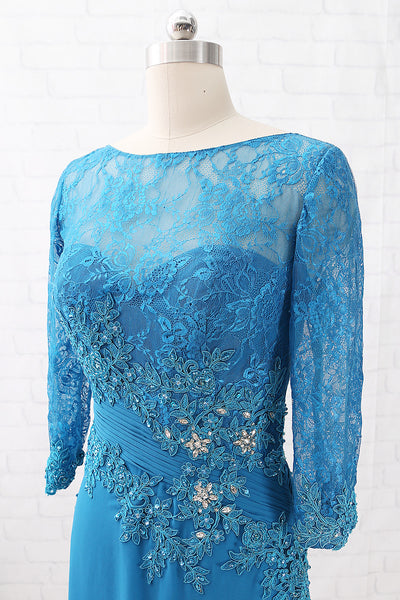 MACloth 3/4 Sleeves Lace Chiffon Teal Evening Gown Maxi Mother of the Brides Dress
