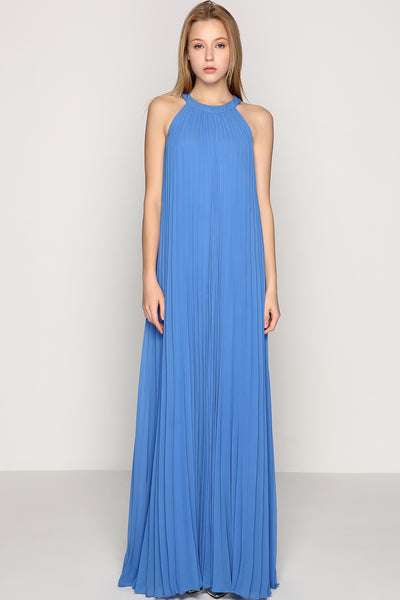 MACloth Halter O Neck Chiffon Long Prom Dress Blue Formal Evening Gown