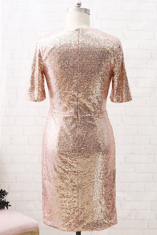 MACloth Short Sleeves V Neck Sequin Short Formal Party Dress Rose Gold Cocktail Dress