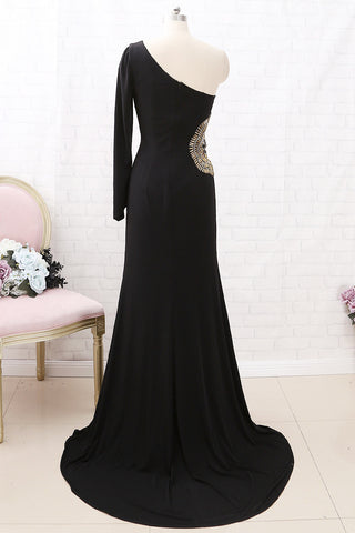MACloth One Shoulder with Beaded Jersey Maxi Prom Dress Black Formal Evening Gown