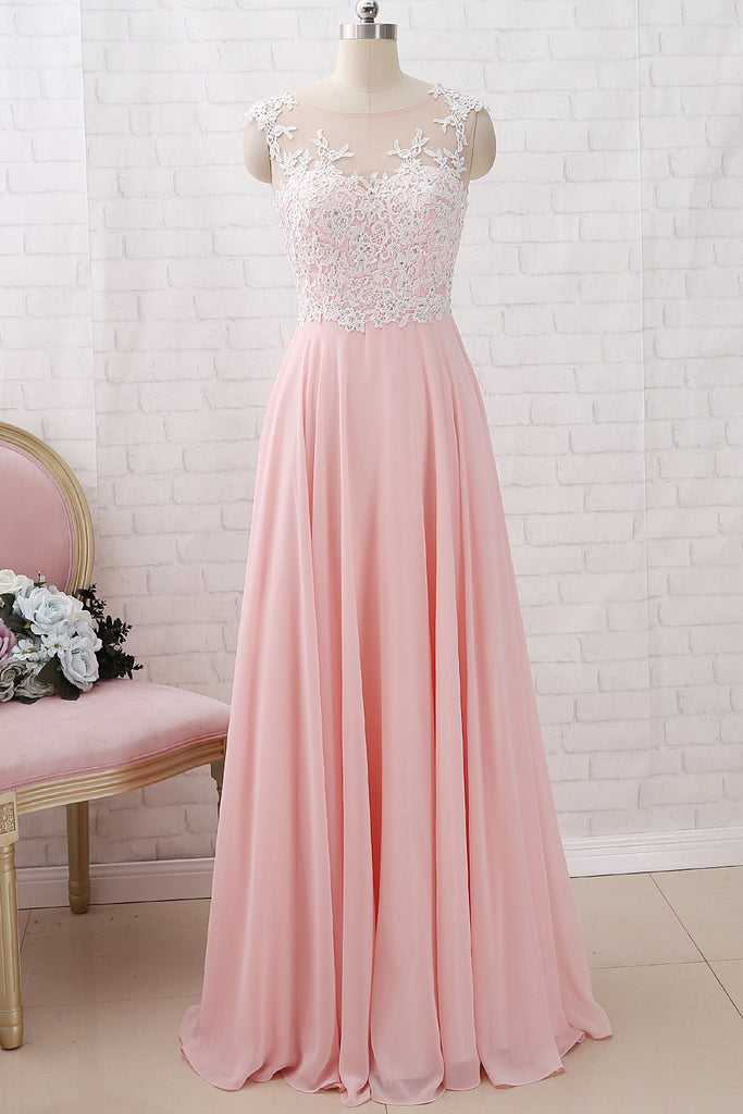 MACloth Straps O Neck Lace Chiffon Pink Long Prom Dress Simple Formal Evening Gown