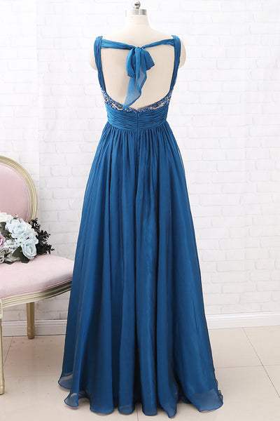 MACloth Straps V Neck Teal Long Prom Dress Chiffon Formal Evening Gown