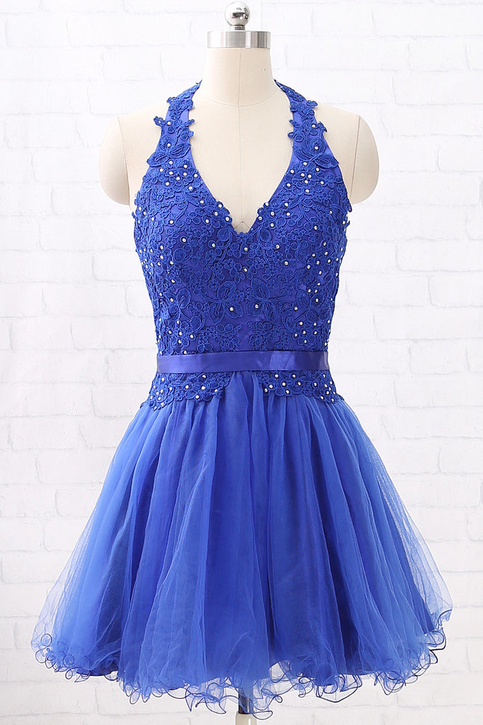 MACloth Halter V Neck Lace Tulle Mini Prom Homecoming Dress Royal Blue Wedding Party Dress