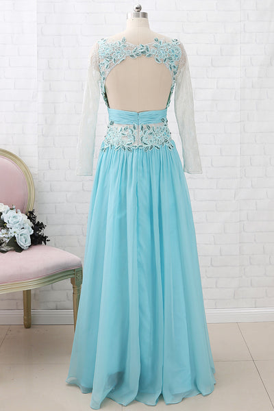 MACloth Long Sleeves Lace Chiffon Formal Evening Gown Ice Blue Mother of the Brides Dress