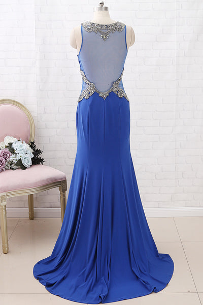 MACloth Mermaid with Beaded Jersey Maxi Formal Evening Gown Royal Blue Prom Dress