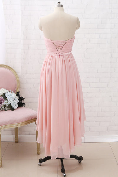 MACloth Strapless Sweetheart High Low Bridesmaid Dress Dusty Pink Wedding Party Dress