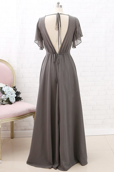 MACloth?€€Short Sleeves Chiffon Long Bridesmaid Dress Grey Wedding Party Formal Dress