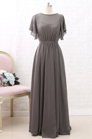 MACloth Short Sleeves Chiffon Long Bridesmaid Dress Grey Wedding Party Formal Dress