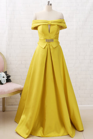 MACloth Off the Shoulder A Line Long Prom Dress Yellow Formal Evening Gown
