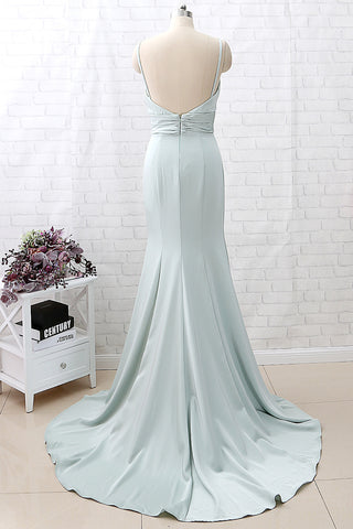 MACloth Mermaid Straps V Neck Crepe Pastel Green Formal Evening Gown Bridesmaid Dress