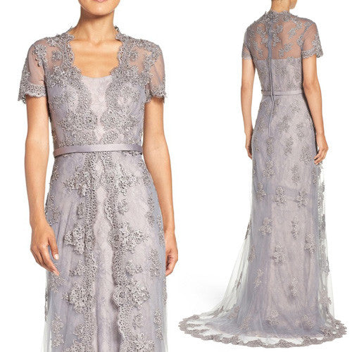 MACloth Cap Sleeves Lace Long Evening Gown Silver Mother of the Brides Dress