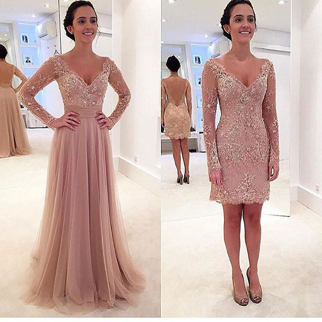 MACloth Two Piece Long Sleeves Lace Pearl Pink Evening Gown Wedding Pa