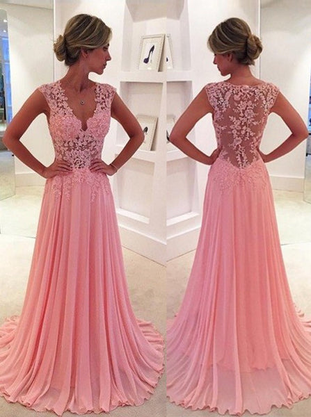 MACloth Straps V Neck A Line Lace Chiffon Pink Prom Dress Long Evening Gown Wedding Party Formal Dresses
