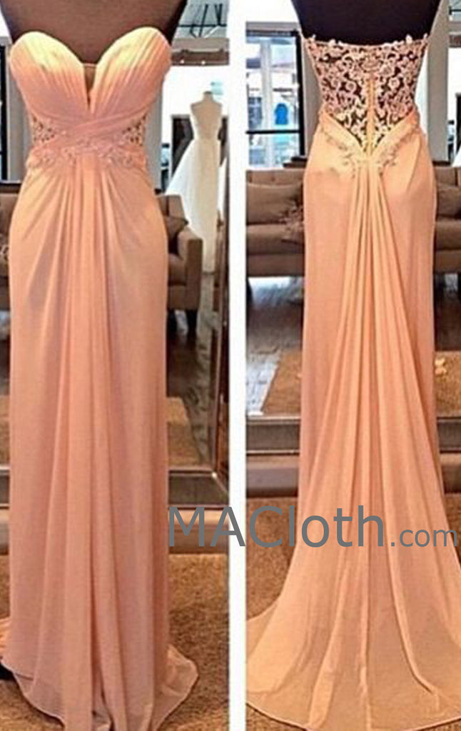 MACloth Strapless Sweetheart Long Chiffon Lace Evening Prom Formal Gown Wedding Party Dress