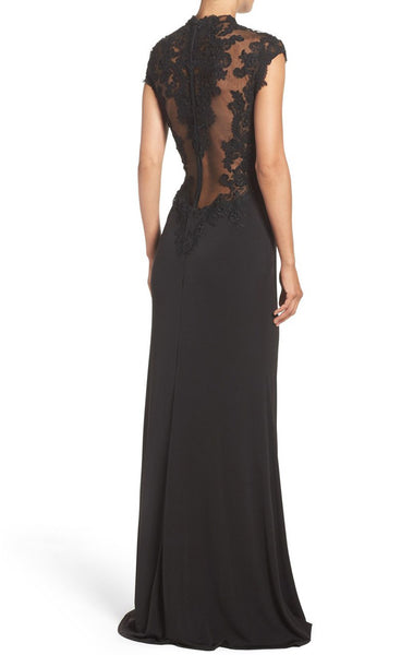 MACloth Mermaid Cap Sleeves Lace Jersey Evening Gown Black Mother of the Brides Dress