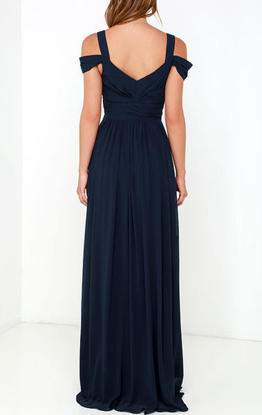MACloth Off the Should Chiffon Long Prom Dress Dark Navy Formal Ball Gown