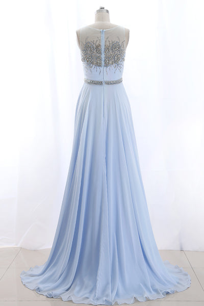 MACloth Illusion Beaded Long Sky Blue Prom Dress Chiffon Formal Gown
