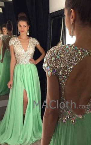 MACloth Cap Sleeves V Neck Crystals Chiffon Long Mint Prom Dress Evening Formal Gown
