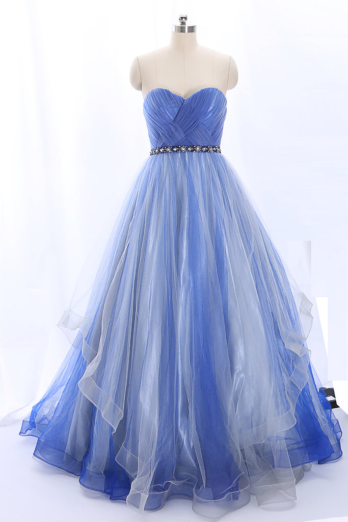 MACloth Strapless Sweetheart Long Tulle Blue Ball Gown Formal Prom Dress
