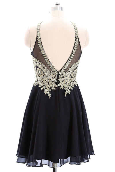 MACloth Halter Gold Lace Black Chiffon Mini Prom Homecoming Dress Little Black Dress