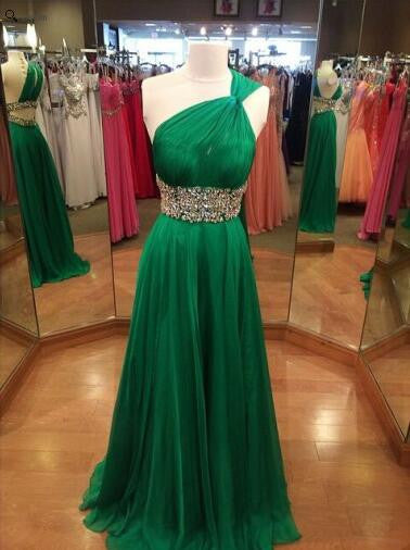 MACloth One Shoulder A Line Long Chiffon Green Prom Dress Evening Gown Wedding Party Formal Dresses