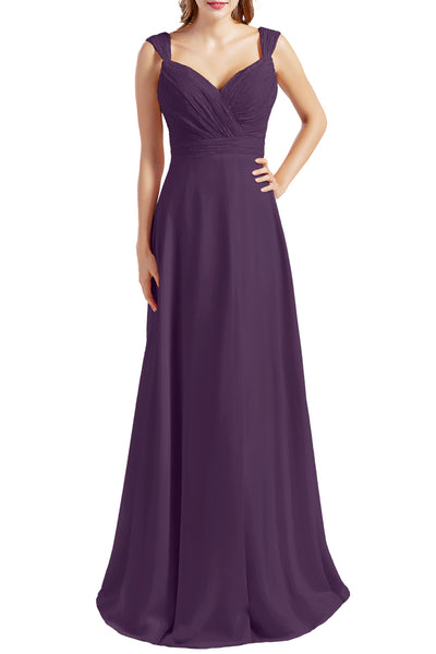 MACloth Women Lace Bodice Chiffon Long Bridesmaid Dresses Formal Evening Gown
