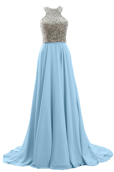 MACloth Women Two Piece Beaded Formal Evening Gown 2019 Chiffon Long Prom Dress