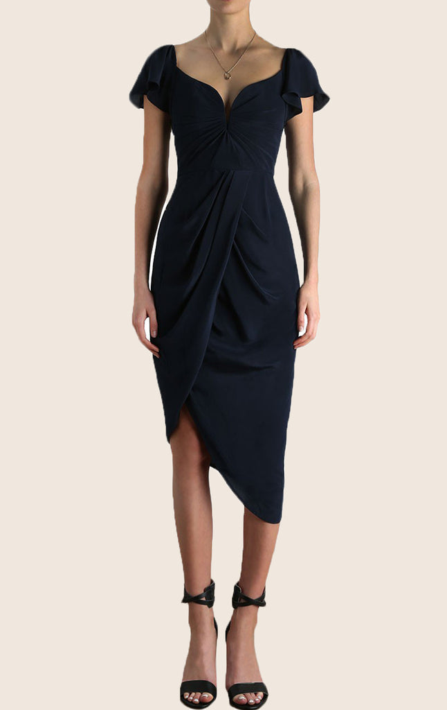 MACloth Cap Sleeves Jersey Midi Cocktail Dress Sexy Formal Gown