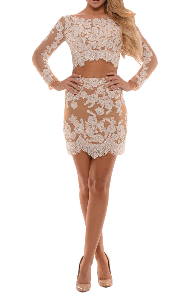 MACloth Long Sleeves Two Piece Lace Mini Prom Homecoming Dress Cocktail Dress