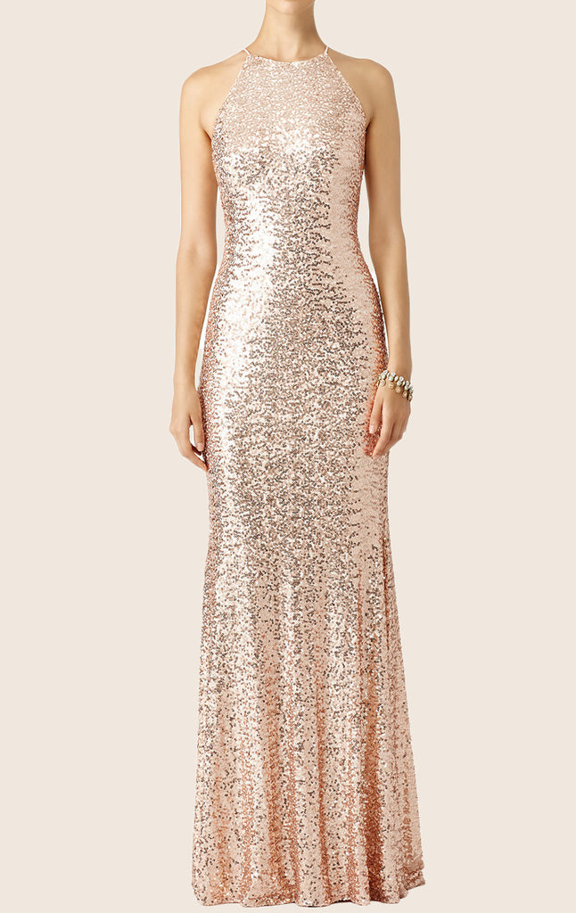 MACloth Sheath Spaghetti Straps Sequin Formal Gown Long Bridesmaid Dress