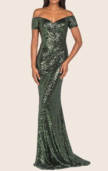 MACloth Mermaid Off the Shoulder Sequin Evening Gown Dark Green Prom Dress