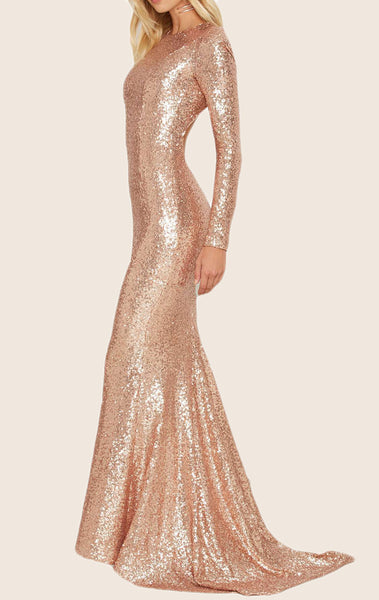 MACloth Mermaid Long Sleeves Sequin Formal Evening Gown Rose Gold Prom Dress